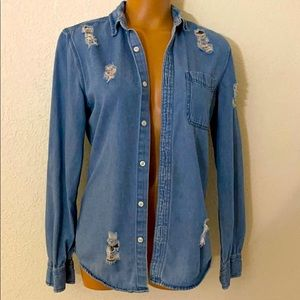 Forever 21 Distressed Denim Button Down S/S Shirt